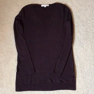 High/Low Tunic Sweater. Eggplant color.